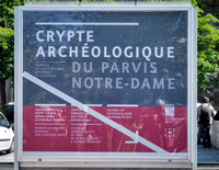 Entrance sign to the archeology crypt under the plaza in front of Notre Dame.