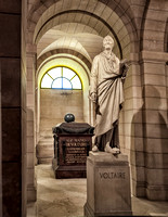 Voltaire's tomb in the crypts of the Pantheon.