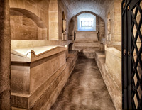 Tombs of Victor Hugo and Alexandre Dumas in the crypts of the Pantheon.