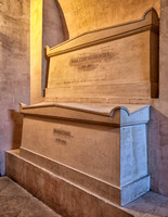 Tombs of Marie and Pierre Curie in the crypts of the Pantheon.
