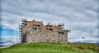 Looking northwest at Duart Castle, lots of repair work going on, on Mull.