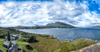 Looking west from Duart Castle across Duart Bay at Torosay Castle, center distance on the opposite shore.
