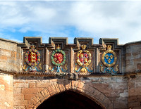 "The four European orders of chivalry to which James V belonged: ""The Orders of the Garter, Thistle, Golden Fleece & St. Michael"" are engraved over the fore entrance to Linlithgow Palace."