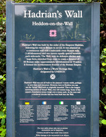 Historic marker at Heddon-on-the-Wall a village located on Hadrian's Wall.  The Wall was built around AD 122, and formed the northernmost frontier of the Roman Empire.