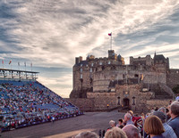 Edinburgh Castle at the start of the Tattoo which had two major themes: the celebration of Her Majesty the Queen's Diamond Jubilee and celebrating the Year of Creative Scotland.