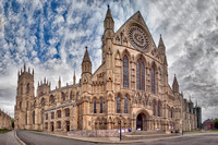 """Fisheye"" panorama of the south side of York Minster, York, UK.  It is the largest gothic cathedral in northern Europe."