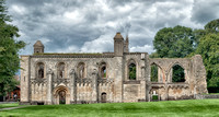 Closeup of the south side of the Lady Chapel at Glastonbury Abbey.