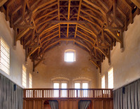 Great Hall interior facing north. The original roof was removed in the late 1700's. It has been replaced with a replica hammer beam roof modeled on the original one at Edinburgh Castle's Great Hall.