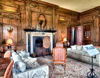 Thorpe Hall Drawing Room.  Paneling and chimneypiece date from 1653 and were bought from Thorpe Hall in the 1920's.