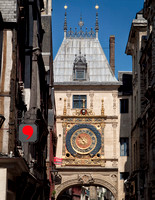 The Gros Horloge which is a fourteenth-century astronomical clock in Rouen, Normandy in a Renaissance arch crossing the Rue du Gros-Horloge.