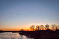 Looking west at the sunset from the Bridge at Fort Kearney State Recreation Area as waves of cranes fly over.