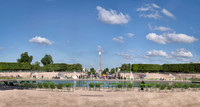 Looking west from the Tuileries Gardens toward the Place de la Concorde with the Obelisk of Luxor in the center distance.