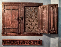 Window shutters from the southern Netherlands 15th century.  Below is a frieze with the inscription Si qua fata sinant (if the fates allow) from Lausanne, Switzerland (early 16th century).