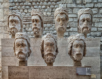 Seven of the 21 stone heads of the kings of Judah (1220-1230) from the front of Notre Dame Cathedral.