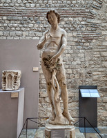 Statue of Adam dating to ca. 1260.  It has traces of polychrome painting from the facade of the south transept at Saint Denis.