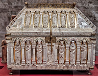 Reliquary box dating to ca. 1200 from Cologne carved with images of prophets and saints.