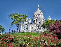 Side view of the front of the Basilica of the Sacred Heart of Paris, commonly known as Sacré-Cœur Basilica.
