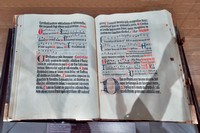 The Mainz Psalter. One of only ten copies known of the 2nd book to be printed by the system of movable metal type, the first the Gutenberg Bible. First book known to have been printed in red & black.