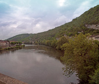 Looking northeast as we cross into Cahors, France over the Lot River on the 1838 Pont Louis Philippe bridge.