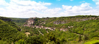 Panorama looking southwest from the overlook in Hospitalet on the road into Rocamadour, a pilgrimage destination for a thousand years.