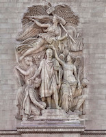 Le Triomphe de 1810 (The Triumph of 1810), on the southeast pillar.  The sculpture depicts Napoléon, crowned by Victory, in antique vestments pressing a sword against his chest.