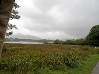 View across Lough Leane, in Killarney National Park through the mist of Irish sunshine (a.k.a. a steady light rain) with Ross Castle to the left and Torc Mountain in the distance to the south.