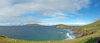 Blasket Islands and Dunmore Head as seen from Slea Head on the Dingle Peninsula. Great Blasket Island is in the middle.
