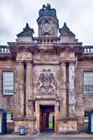 Closeup of the entrance to Holyrood Palace.