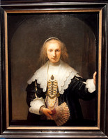Holyrood Palace Queen's Gallery art exhibit. Rembrandt van Rijn (Leiden 1606-Amsterdam 1669) (artist);  Signed and dated 1641; Oil on canvas - Agatha Bas;  acquired by George IV.