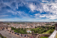 Panorama of the city of Edinburgh and the Firth of Forth from Edinburgh Castle.