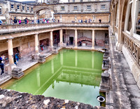 Looking down on the Roman bath.