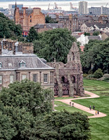Hollyrood Palace, Edinburgh,with the abbey ruins to the right as seen from Arthur's Seat.