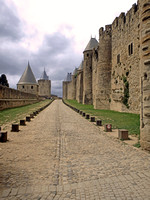 Outer walls of Carcassonne looking south from the east entrance