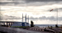 Crossing from Wales to England on the M4 bridge over the River Severn on the way from Cardiff to Bath.