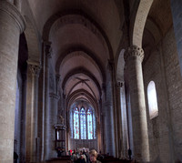 Interior of the Basilica of Saints Nazarius and Celsus in Carcassonne with the pulpit on the left.