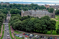 Side view of Holyrood Palace wth the abbey ruins on the right, taken from Arthur's Seat, Edinburgh.