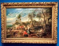 Holyrood Palace Queen's Gallery art exhibit. Sir Peter Paul Rubens (Flemish, 1577-1640). Milkmaids with cattle in a landscape: 'The Farm at Laeken', ca. 1617-18. Oil on panel. Purchased by George IV.