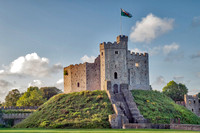 The Norman Keep.  Built in the 12th century the 12 sided keep survives in good condition and stands proudly on it's motte or small hill within the walls of Cardiff Castle.