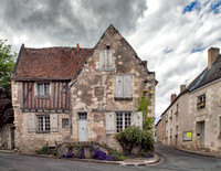 Partially timber framed house (likely 15th century) on the Rue de la Mairie.  Across the street from the Romanesque Church of St. Stephen of Villandry which dates to the 11th and 12th centuries.