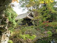 "Small meeting house in the Japanese Gardens as seen from the shallow cave holding the ""Chair of Old Age""."