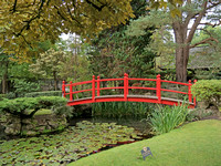 Iconic red bridge in the Japanese Gardens.