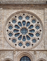 Detail of the exterior of the rose window on the west facade of Chartres Cathedral.