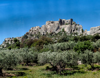 Ruins of Château des Baux as seen from the highway at the northeast end of Les Baux-de-Provence.